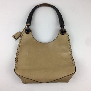 Gucci Whipstitch Leather Bag / Purse Wood Handle
